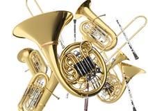 Strumenti musicali del vento su bianco Immagini Stock Libere da Diritti