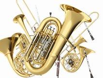 Strumenti musicali del vento su bianco Immagine Stock