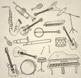 Strumenti musicali disegnati a mano Fotografie Stock Libere da Diritti