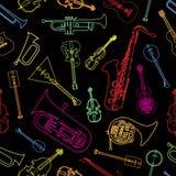 Strumenti musicali estratti sotto forma di modello Fotografia Stock Libera da Diritti