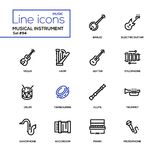 Strumenti musicali - linea moderna icone di progettazione messe illustrazione di stock