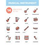 Strumenti musicali - linea moderna icone di progettazione messe illustrazione vettoriale