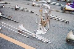 Strumenti musicali in marcia del trombone perfetti per marciare fotografie stock libere da diritti