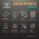 Strumenti online di affari su Pegboard scuro Illustrazione di Stock