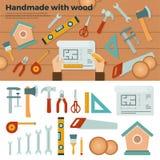 Strumenti per fatto a mano con legno Concetto di hobby Immagine Stock