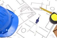 Strumenti per i disegni di costruzione Immagine Stock