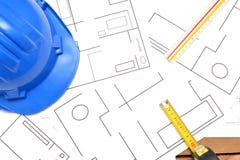 Strumenti per i disegni di costruzione Fotografie Stock