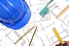Strumenti per i disegni di costruzione Immagini Stock Libere da Diritti