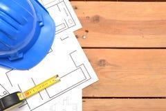 Strumenti per i disegni di costruzione Fotografia Stock
