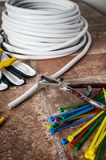 Strumenti per installazione elettrica, primo piano Fotografia Stock Libera da Diritti