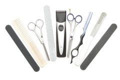 Strumenti professionali di lavoro di parrucchiere. Priorità bassa Immagine Stock