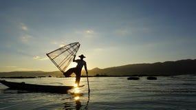 Strumenti speciali di pesca del birmano Immagine Stock