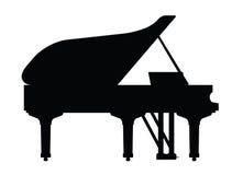 Strumento del piano in siluetta Immagini Stock Libere da Diritti