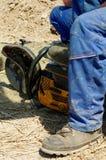 Strumento dell'acciaio di taglio del lavoratore Immagini Stock