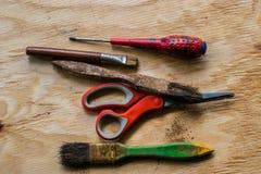 Strumento dell'artigiano pronto a lavorare al legno Immagine Stock