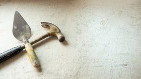 Strumento della costruzione della cazzuola e del martello del liuto Immagine Stock Libera da Diritti