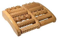 Strumento di legno di massaggio del rullo per i piedi isolati su bianco Fotografia Stock Libera da Diritti