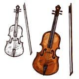 Strumento di musica del contrabbasso del violino di schizzo di vettore royalty illustrazione gratis