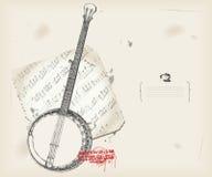 Strumento di musica dell'illustrazione del banjo con il segno royalty illustrazione gratis