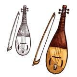 Strumento di musica della corda dell'arpa di gusli di schizzo di vettore illustrazione vettoriale