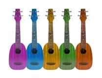 Strumento di musica delle ukulele sui precedenti bianchi Fotografia Stock Libera da Diritti