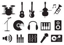 Strumento di musica ed icone degli strumenti Fotografie Stock