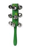 Strumento musicale di legno verde con i tintinnii metallici Immagini Stock Libere da Diritti