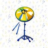 Strumento musicale Piatto dorato dell'acquerello Isolato sul fondo delle note royalty illustrazione gratis