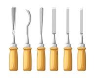 Strumento per scolpire Gli scalpelli messi su struttura di legno Illustrazione piana Fotografia Stock