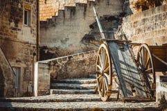 Strumento tipico del vecchio vagone di legno storico utilizzato a Matera nel passato Immagine Stock Libera da Diritti