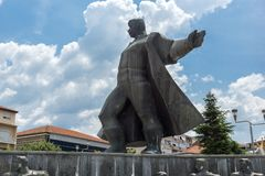 Monument of Gotse Delchev at the central square of town of Strumica, Republic of Macedonia. STRUMICA, MACEDONIA - JUNE 21, 2018: Monument of Gotse Delchev at the stock photography