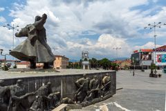 Monument of Gotse Delchev at the central square of town of Strumica, Republic of Macedonia. STRUMICA, MACEDONIA - JUNE 21, 2018: Monument of Gotse Delchev at the royalty free stock images