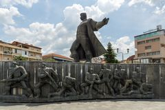 Monument of Gotse Delchev at the central square of town of Strumica, Republic of Macedonia. STRUMICA, MACEDONIA - JUNE 21, 2018: Monument of Gotse Delchev at the stock photo