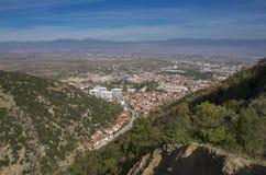 Strumica Makedonien - panorama från Carevi Kuli arkivbilder