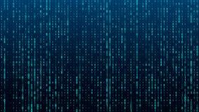 Strumień binarny matrycowy kod na ekranie liczby komputerowa matryca Pojęcie cyfrowanie, hacker lub kopalnictwo crypto, ilustracja wektor