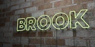 STRUMYK - Rozjarzony Neonowy znak na kamieniarki ścianie - 3D odpłacająca się królewskości bezpłatna akcyjna ilustracja royalty ilustracja