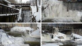 Strumyk siklawy kaskady sopli retro most marznąca lodowa zima zbiory