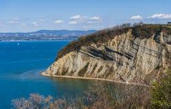 Strunjan cliff, Slovenia stock photography