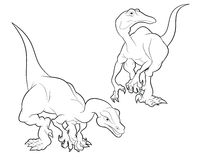 Struthiomimus cartoon lineart. Struthiomimus blackand white cartoon lineart coloring Stock Image