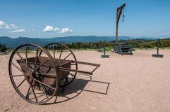 Struthof, France. Cart and gallows in Netzweiler-Struthof concentration camp in France Royalty Free Stock Image