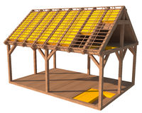struttura 3D della casa con isolamento termico illustrazione vettoriale