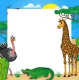Struttura africana con gli animali 01 Illustrazione di Stock
