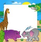 Struttura africana con gli animali 02 Illustrazione Vettoriale