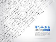 Struttura alta tecnologia del fondo di tecnologia Icone di sicurezza della rete Fotografia Stock Libera da Diritti
