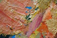 Struttura alta vicina della pittura a olio con i colpi della spazzola Fotografia Stock