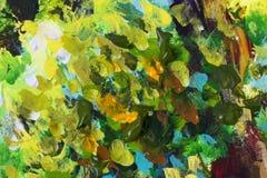 Struttura arancio verde della pittura ad olio del primo piano dell'estratto su tela fotografia stock