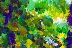 Struttura arancio verde della pittura ad olio del primo piano dell'estratto su tela fotografia stock libera da diritti