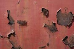Struttura arrugginita e graffiata rossa del fondo della superficie di metallo fotografia stock libera da diritti