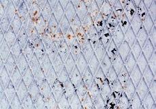 Struttura arrugginita macchiata del pavimento del metallo dipinta blu Fotografia Stock