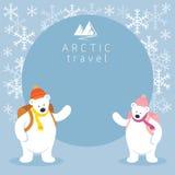 Struttura artica di viaggiatore con zaino e sacco a pelo dell'orso polare delle coppie Immagini Stock